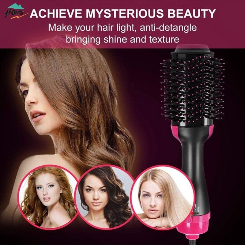 One Step Hair Dryer and Styler Volumizing Hot Air Brush 3 in 1 Straightening and Drying Blower Brush Curler Comb