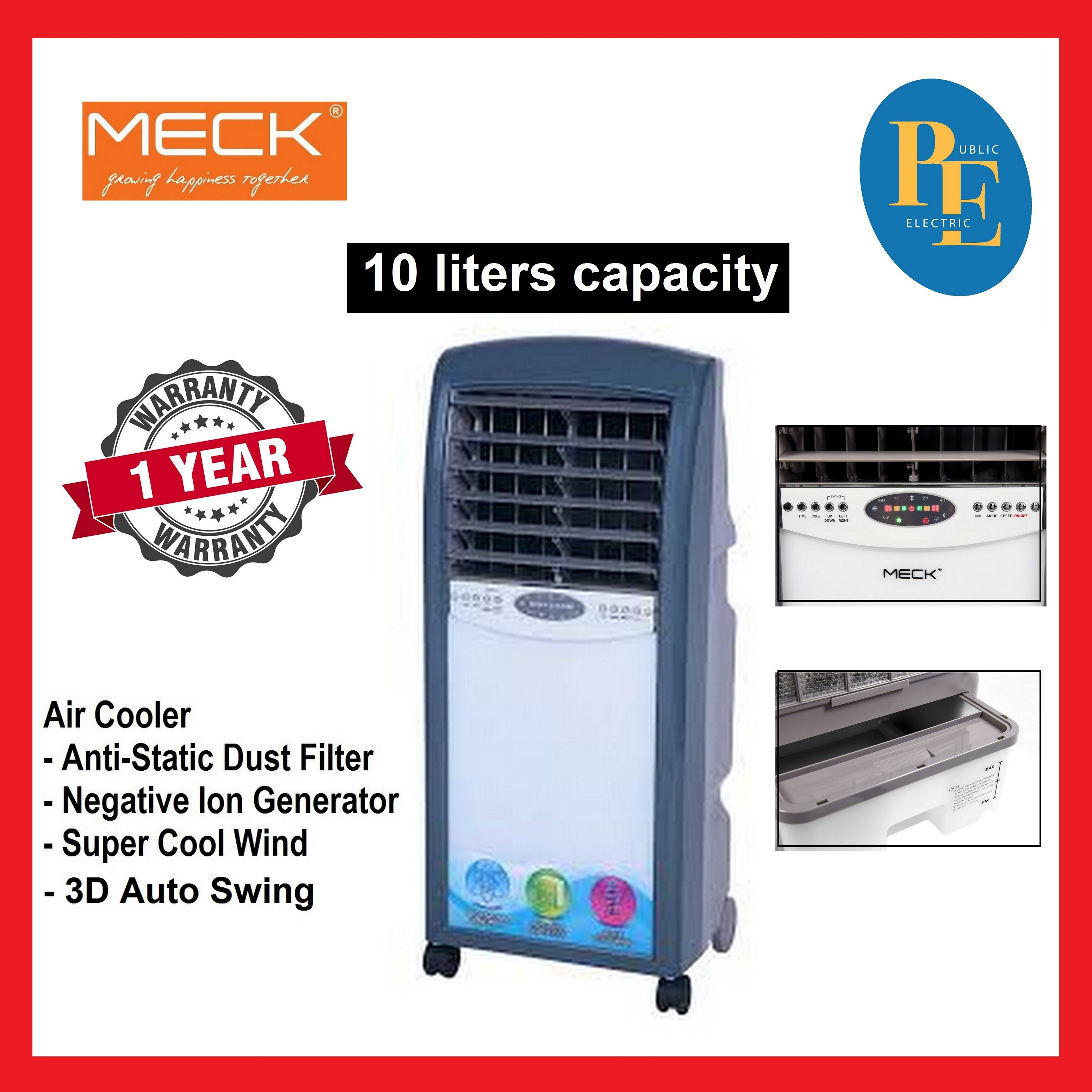 Meck Super Cool Wind Air Cooler 10 Litre - MAC-1600BL