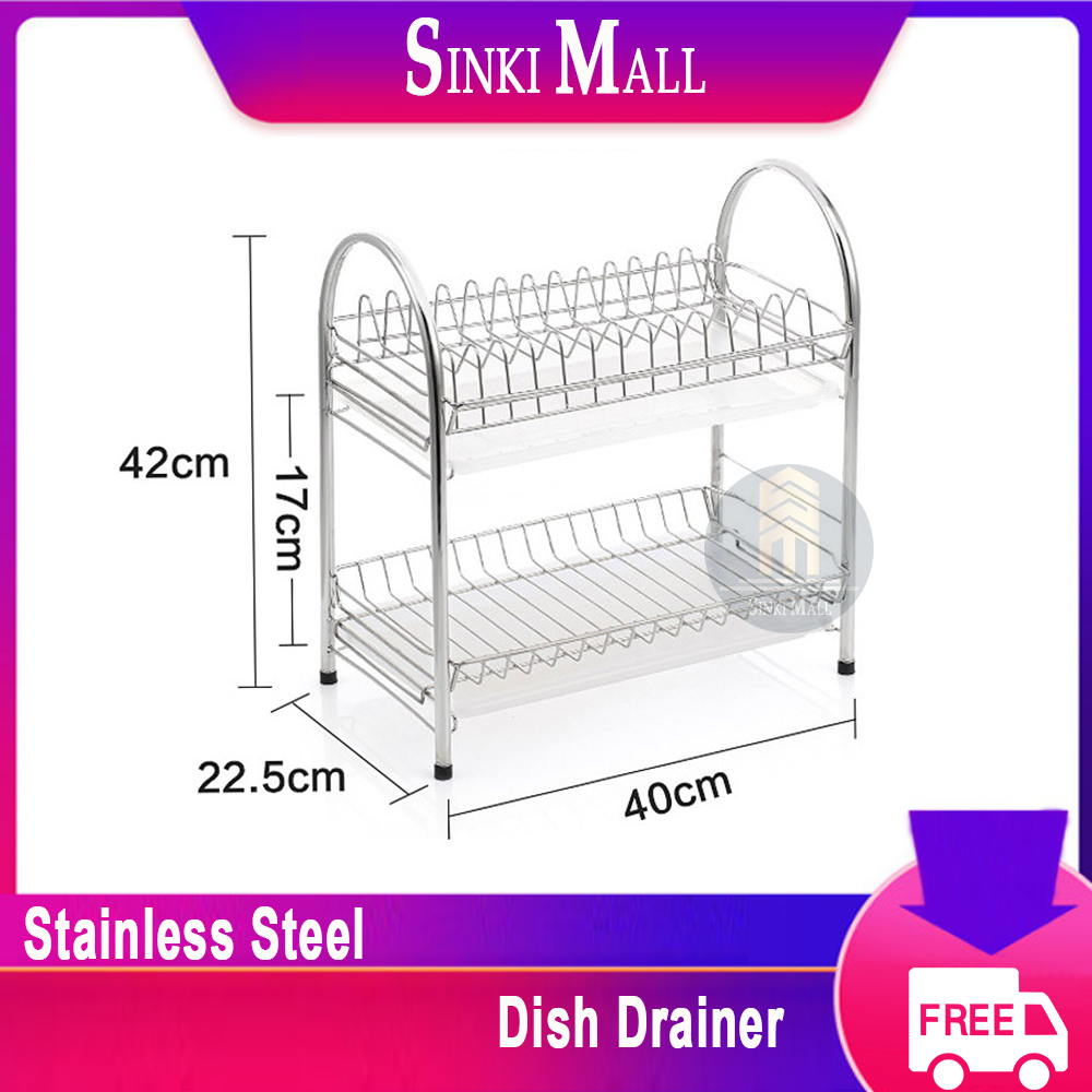 Dish Drainer 304 Stainless Steel Kitchen 2-Tier Dish Rack with Utensil Holder