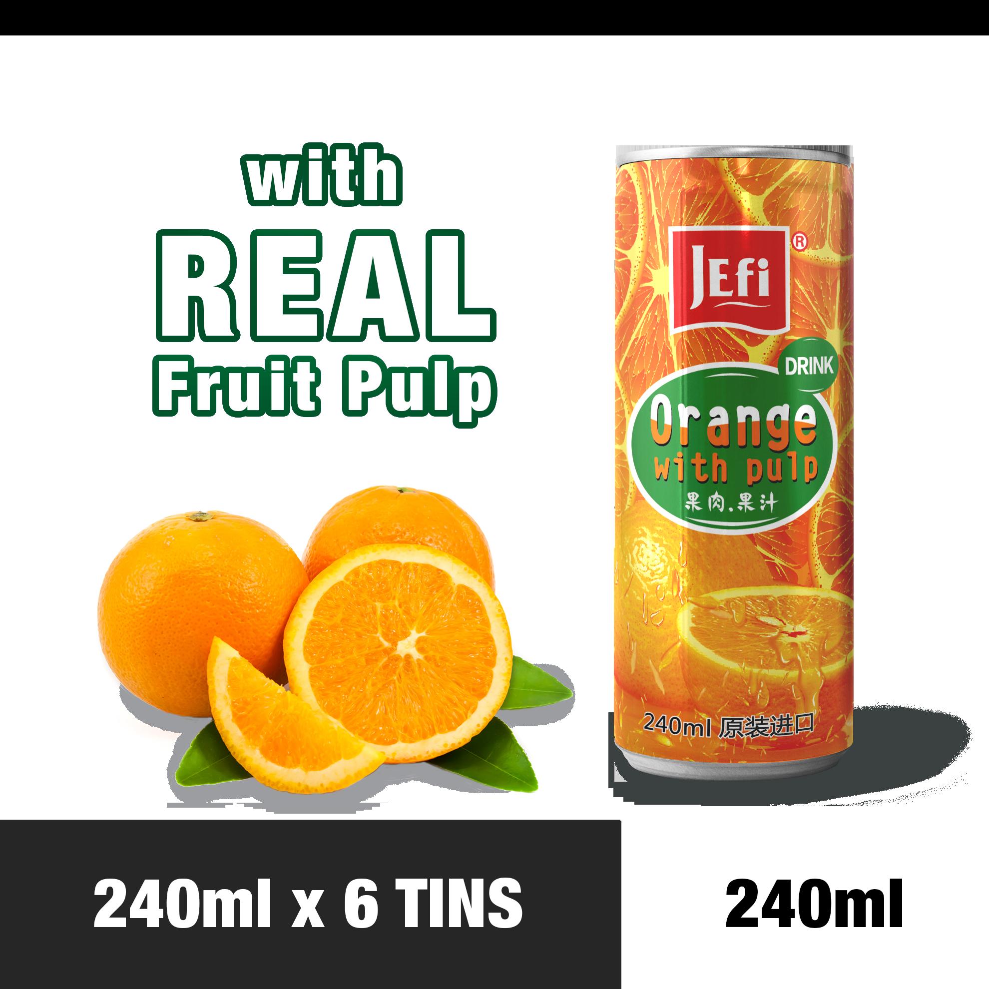 JEFI Orange Drink with Real Fruit Sac (240ml x 6tins)