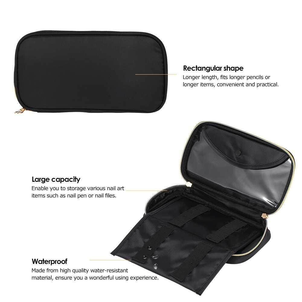 Nail Art Pen Storage Pouch Waterproof Storage Bag for Nail Brush Large Capacity Cosmetic Makeup Bag Case