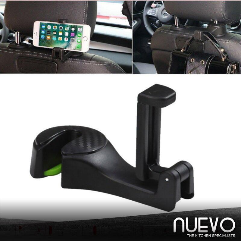 2-in-1 Universal Car Hook Mobile Phone Holder Bracket Auto Vehicle Backseat Headrest Mount Organizer Back Seat Hanger