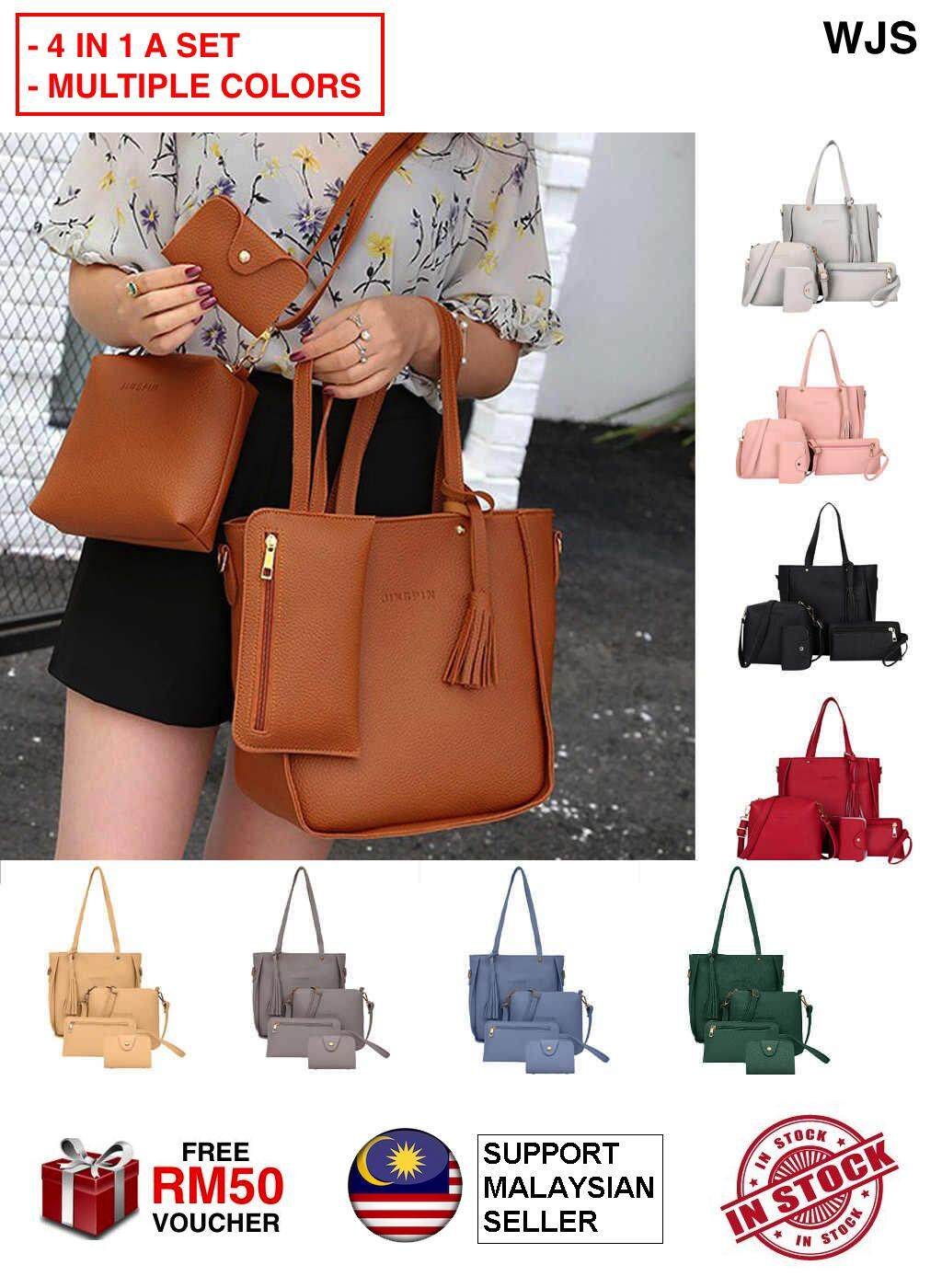 (4 IN A SET) WJS Quality 4pcs 4 pcs Sammi Shoulder Women Handbag Tote Bag Sling Beg Tangan Bags Purse Clutch Pouch Ladies Hand Bag Casual Dinner Cantik Girl Raya Korea Japan Ready Stock MULTICOLOR [FREE RM 50 VOUCHER]