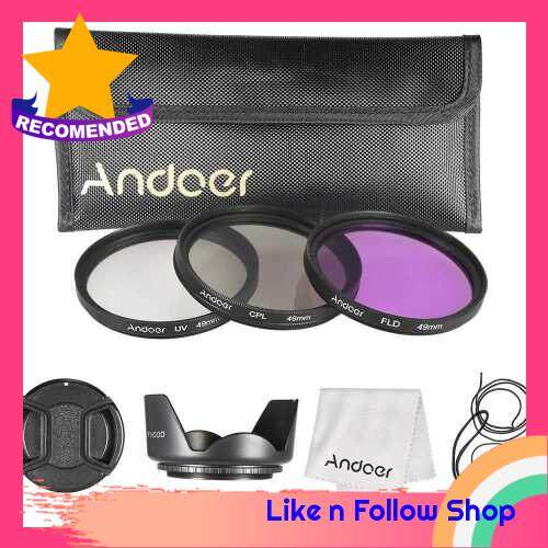 Andoer 49mm Filter Kit (UV+CPL+FLD) + Nylon Carry Pouch + Lens Cap + Lens Cap Holder + Lens Hood + Lens Cleaning Cloth (Standard)