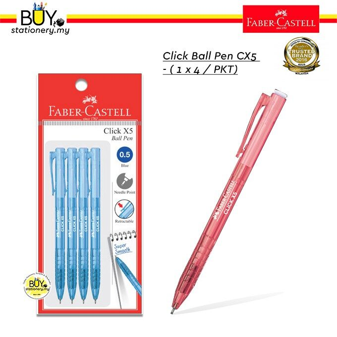 Faber Castell Click X5 Ball Pen (0.5mm)- 4s (PKT)