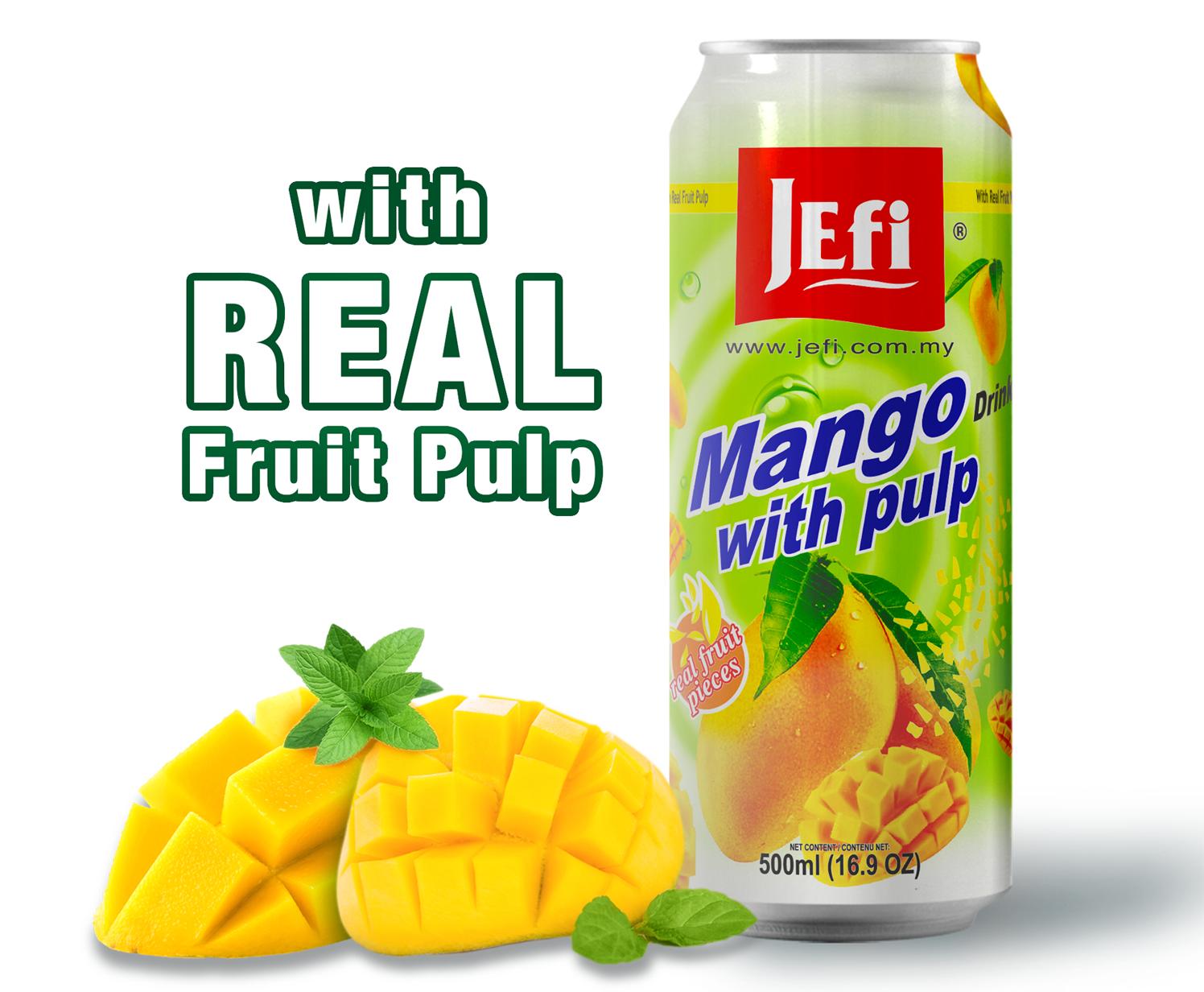 JEFI Mango Drinks with Real Fruit Pulp (500ml x 1tin)