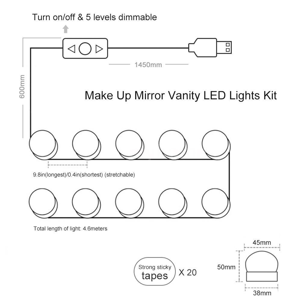 Lighting - DC5V 10W 10 LED Vanity Dimmable Mirror Light Kit USB Powered Operated Memory Function 5 - WHITE
