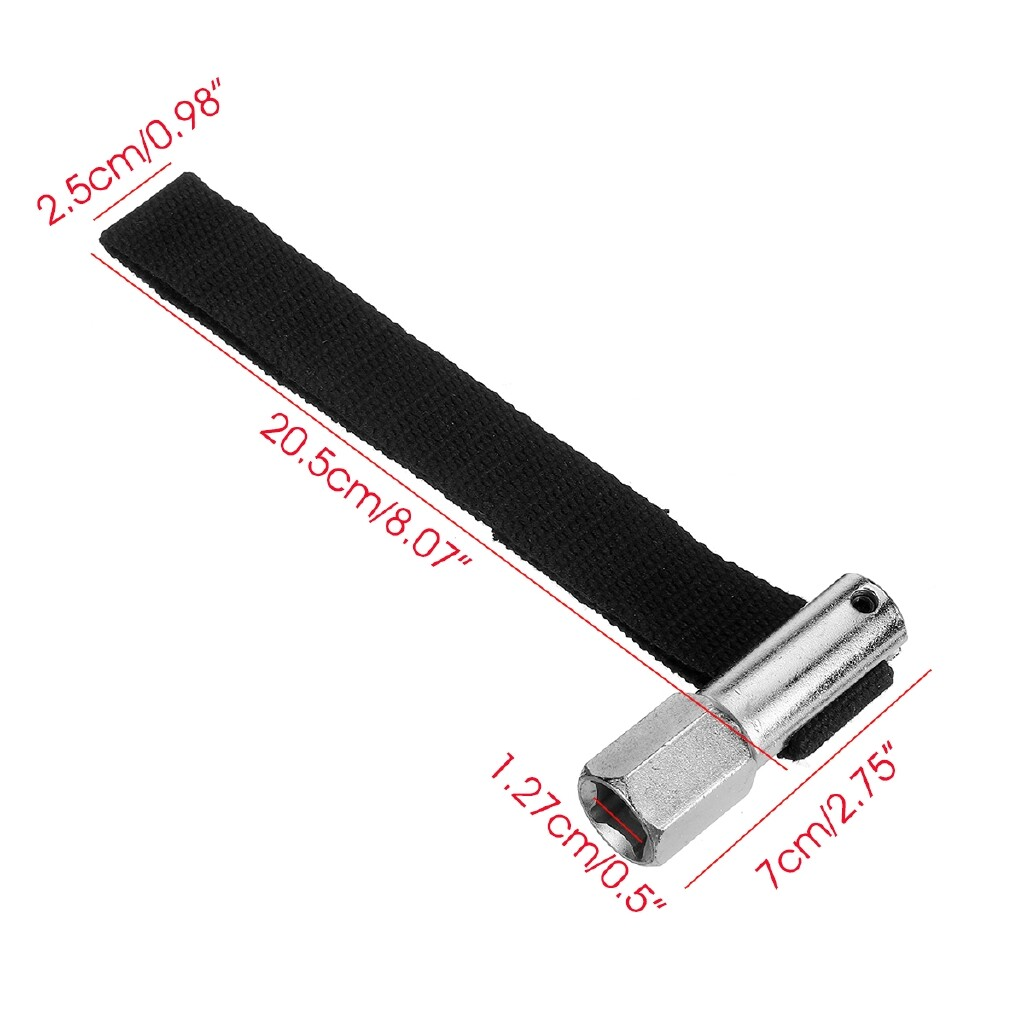 Air Filters - 1/2 Square Drive / 21mm 120mm Capacity Oil Filter Remover Strap Wrench Tool - Car Replacement Parts
