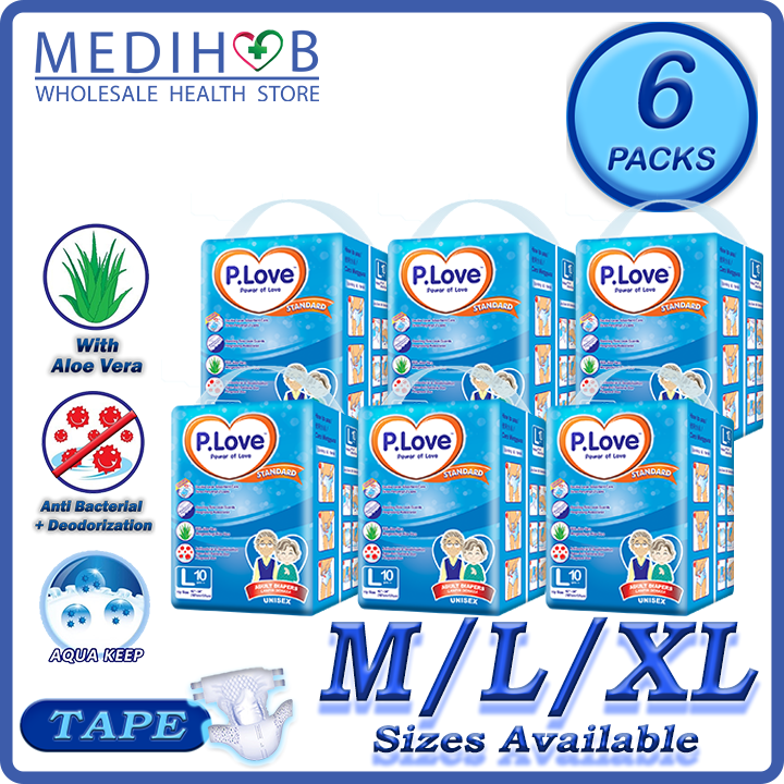 PLove Standard Adult Diapers Lampin Pampers (P.Love 6 Packs) Size M
