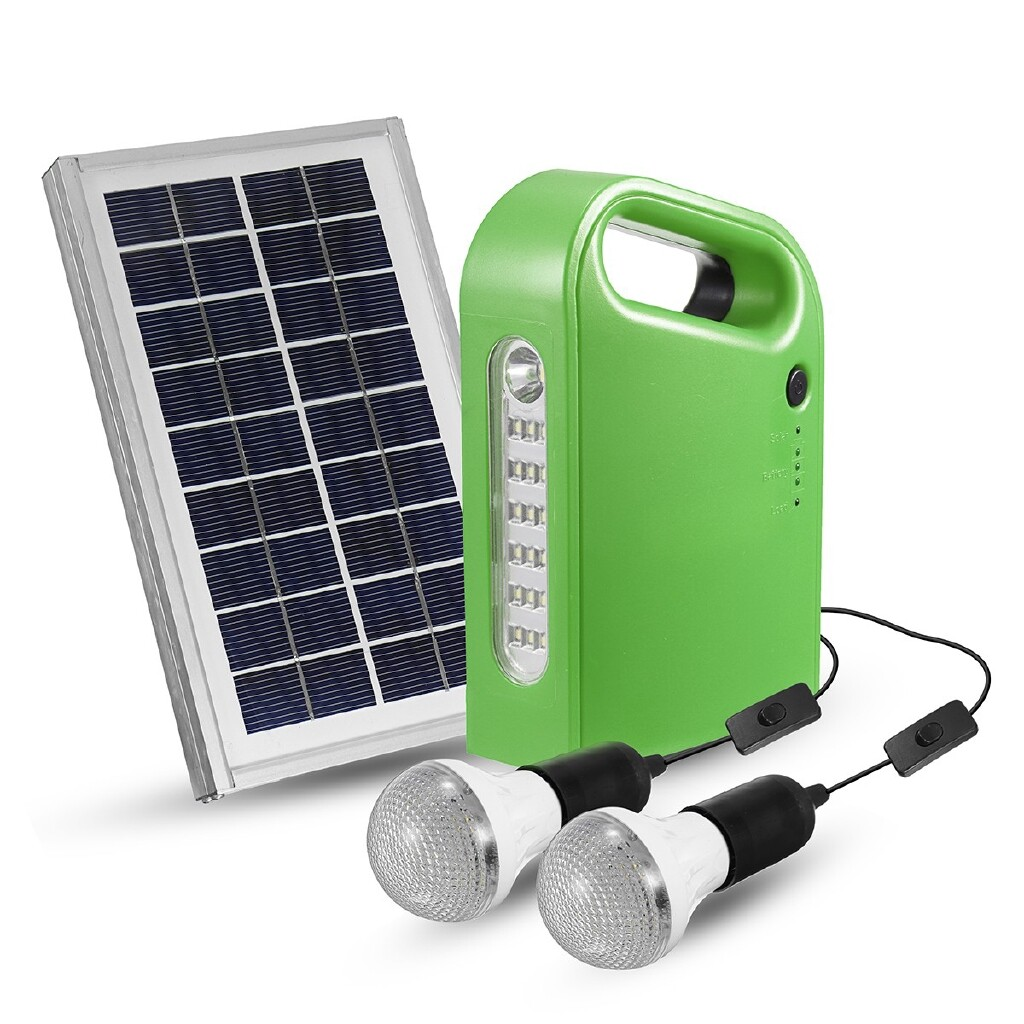 Lights & Lanterns - 3W 9V Solar Panel Generator Kit 6V USB Charger Home System with 2 LED Bulbs - 3W GREEN / 3W RED