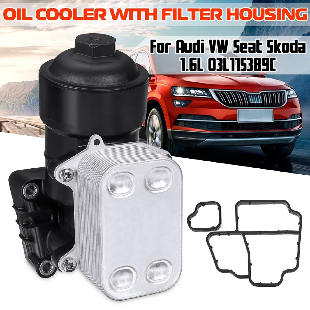 Cooling - Car Oil Cooler with Filter Housing For Audi VW Seat Skoda 1.6L 03L115389C - Car Replacement Parts