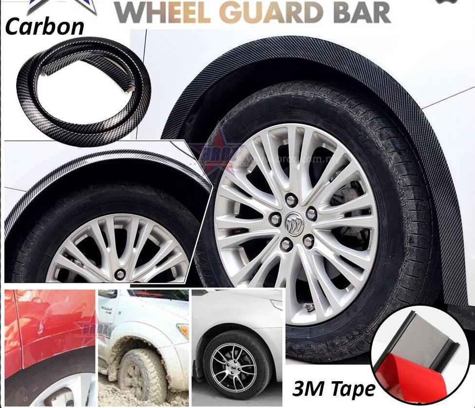 4 x Car Wheel Guard Bar Protector Anti Scratch Collision Rubber Strip - Carbon