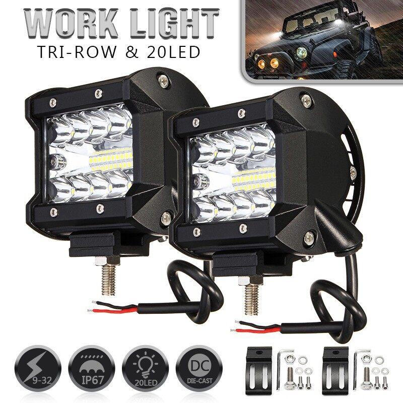 Car Lights - 4 Inch LED Driving Work Lights Bar Flood Spot 200W Combo Offroad Lamp - Replacement Parts