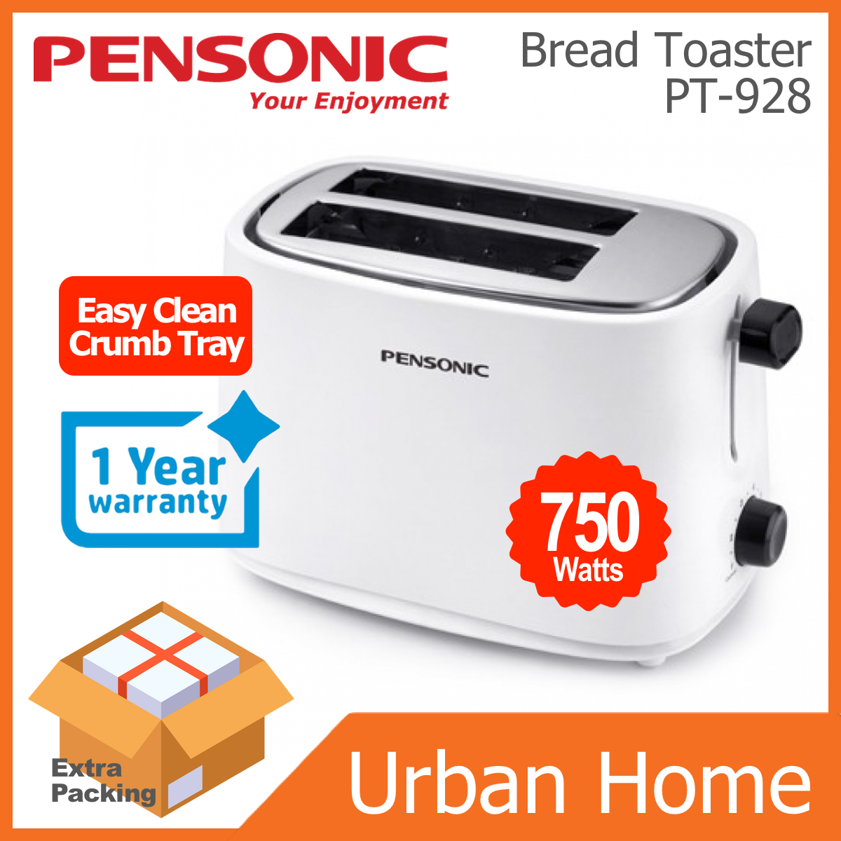 PENSONIC 2 Slice Bread Toaster (PT-928/PT928)