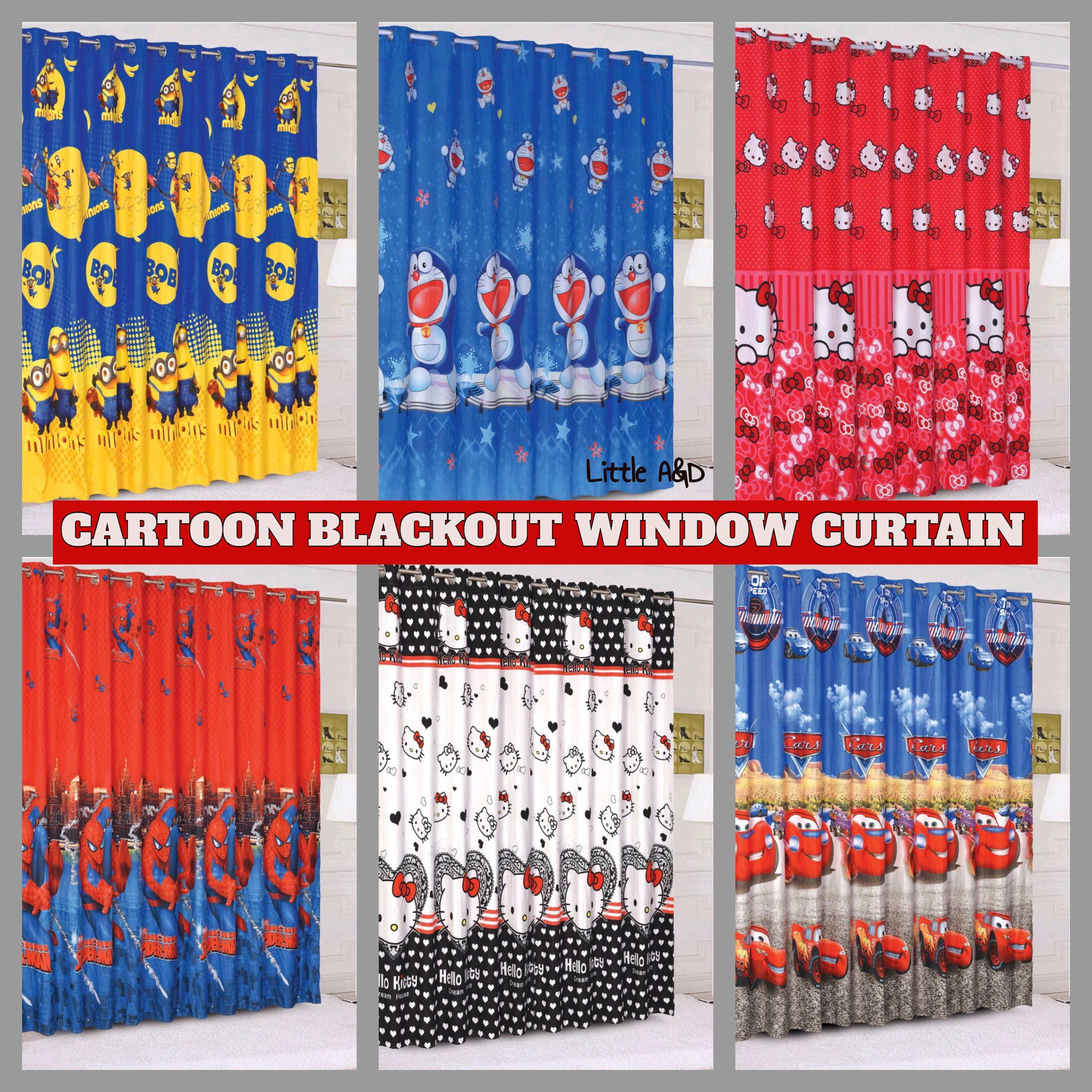LANGSIR TINGKAP CARTOON KAIN TEBAL CURTAIN WINDOW CARTOON BLACKOUT