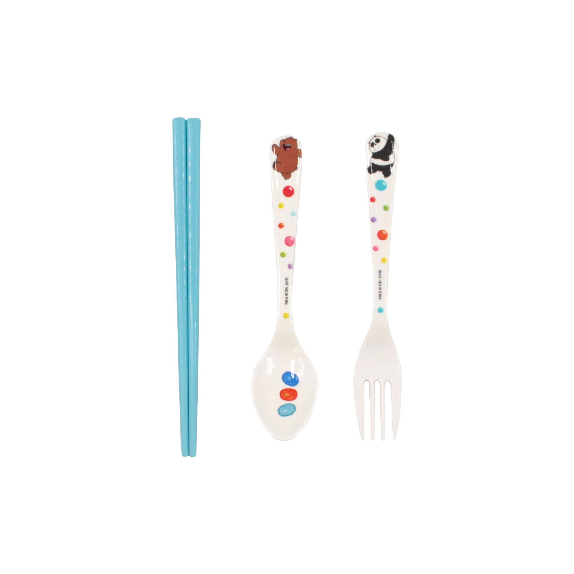 We Bare Bears Bamboo Melamine Children Cutlery Set With Chopstick - White & Blue