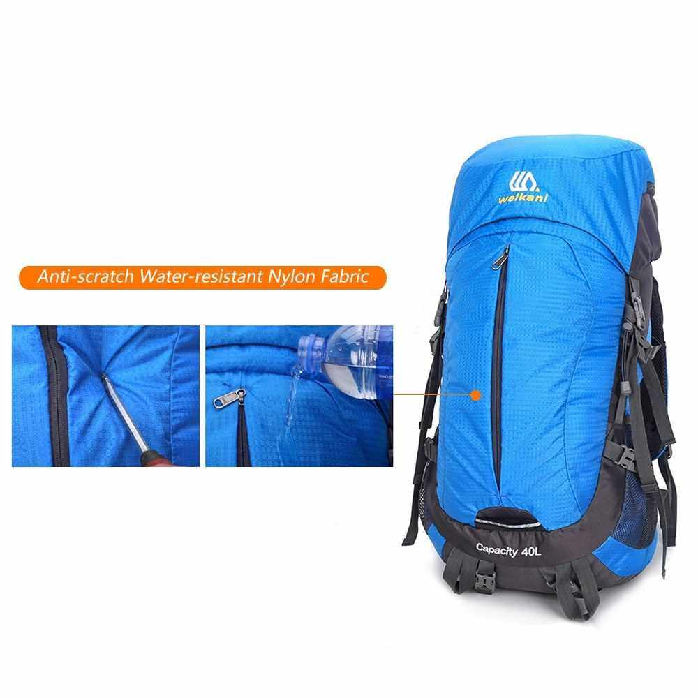 40+10L Hiking Backpack Outdoor Waterproof Camping Backpack Travel Daypack Shoulder Bag with Rain Cover for Men and Women (Black)