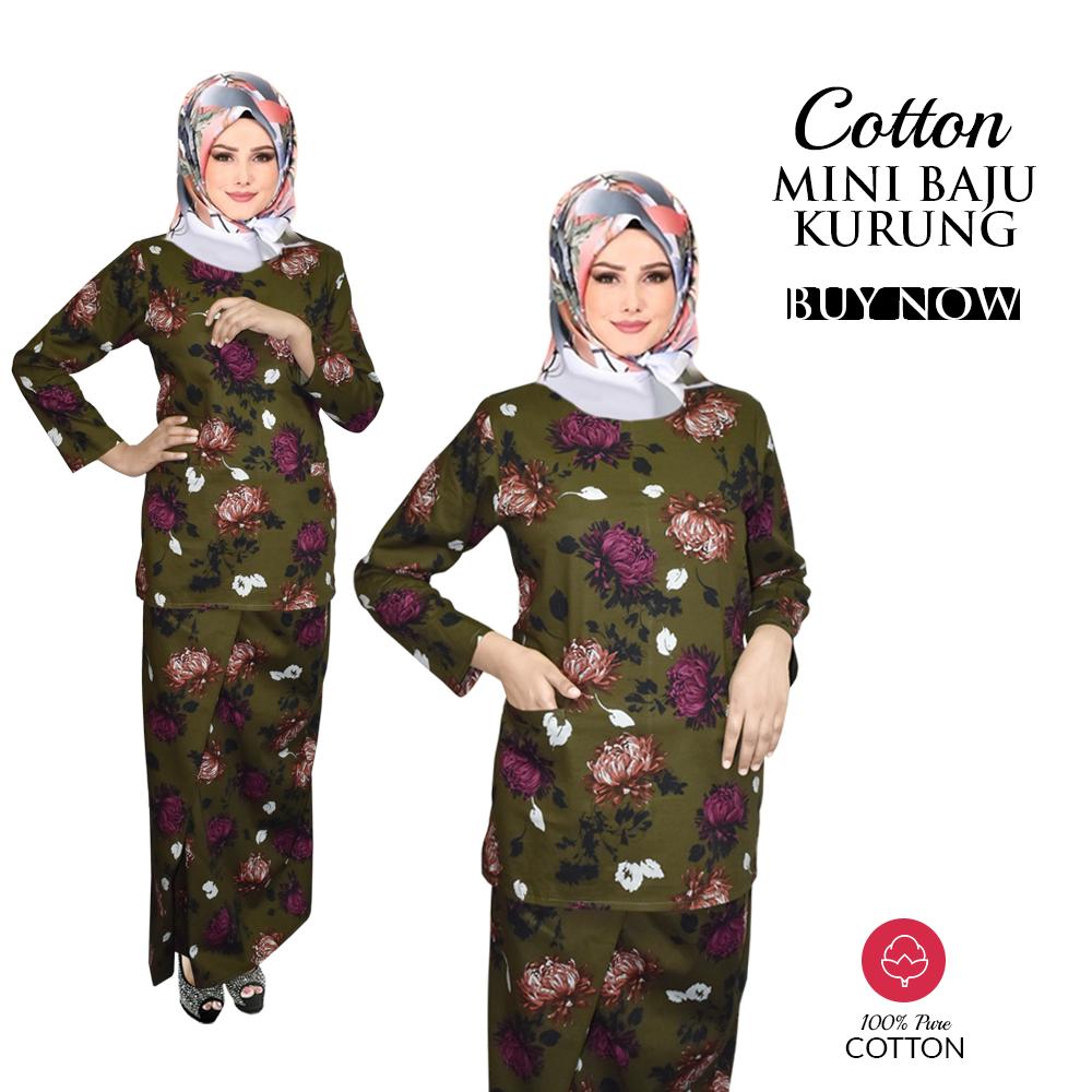 Harga KM Baju Kurung Modern Beautiful Flower Pattern with Lipat Cutting Kain 100% Cotton (Ready Stock) Terbaik