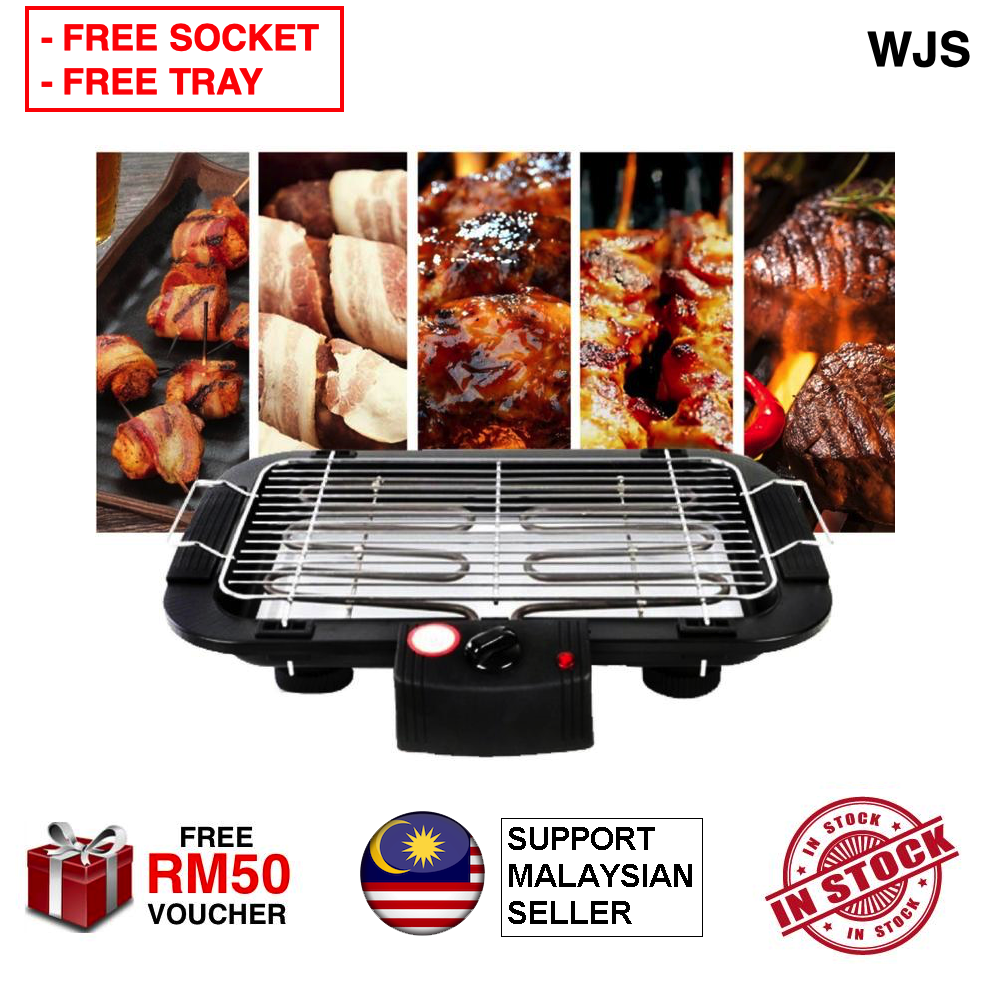 (FREE TRAY & SOCKET) WJS Enhanced Version 2 in 1 Multifunction Korean BBQ Electronic Electric Barbecue Grill Teppanyaki Smoke Barbecue & Steamboat Hot Pot Shabu Roast Fry Pan Cookware Electric BBQ Stove BLACK [FREE RM 50 VOUCHER]