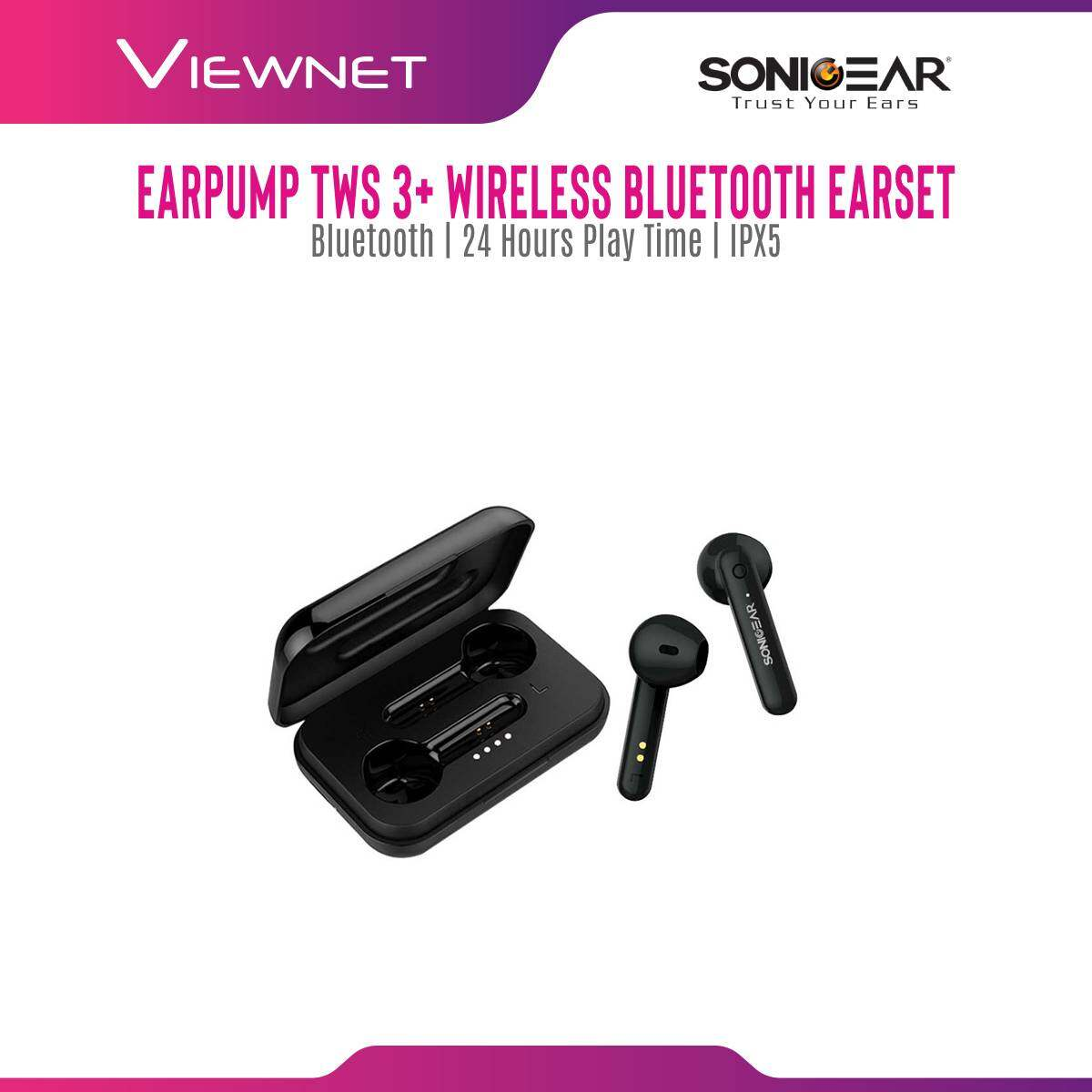 Sonicgear Wireless Earbuds TWS 3+ with Bluetooth 5.0, 24 hours playtime, IPX 5, Super Mic Reception, Up to 6Hours @ 50% Volume,Touch Control, Voice Assistant, Mini Lightweight