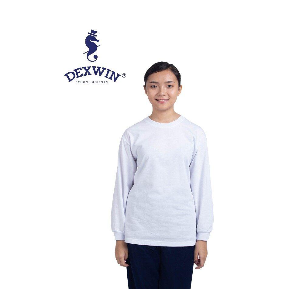 T-Shirt Putih Leher Bulat Tangan Panjang Kain Cotton baju sukan leher bulat