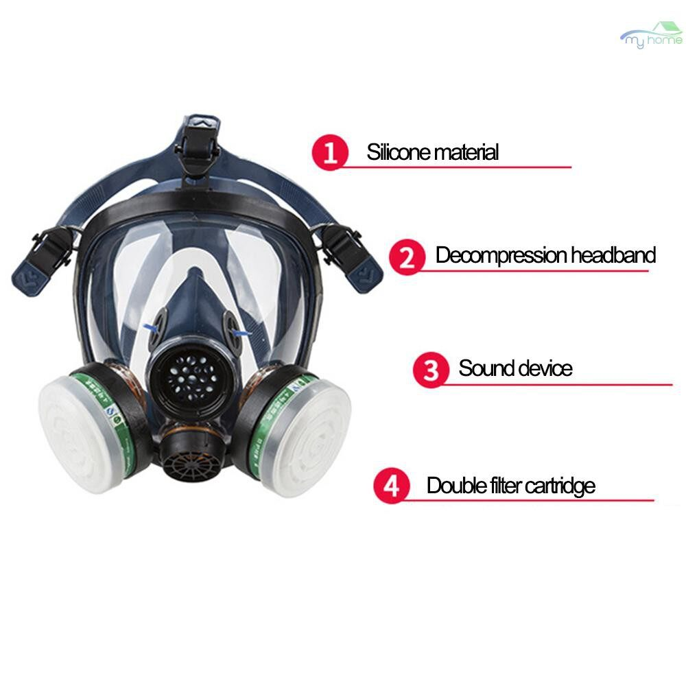 Protective Clothing & Equipment - STRONG/ST-S100-3 Gas Mask Respirator Dual Filter Full Face Mask for Painting Spraying Silica Gel - 04 / 03 / 02 / 01