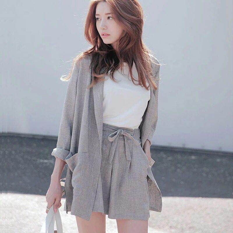 (Pre Order14 Days  JYS Fashion Korean Style Women Blazer +BottomSetCollection515-942col515-942--Grey-S