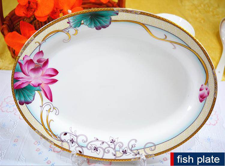 Golden Lotus Fine Porcelain 56Pcs Round Dinnerware Plate Set White + Flower + Green + Pink