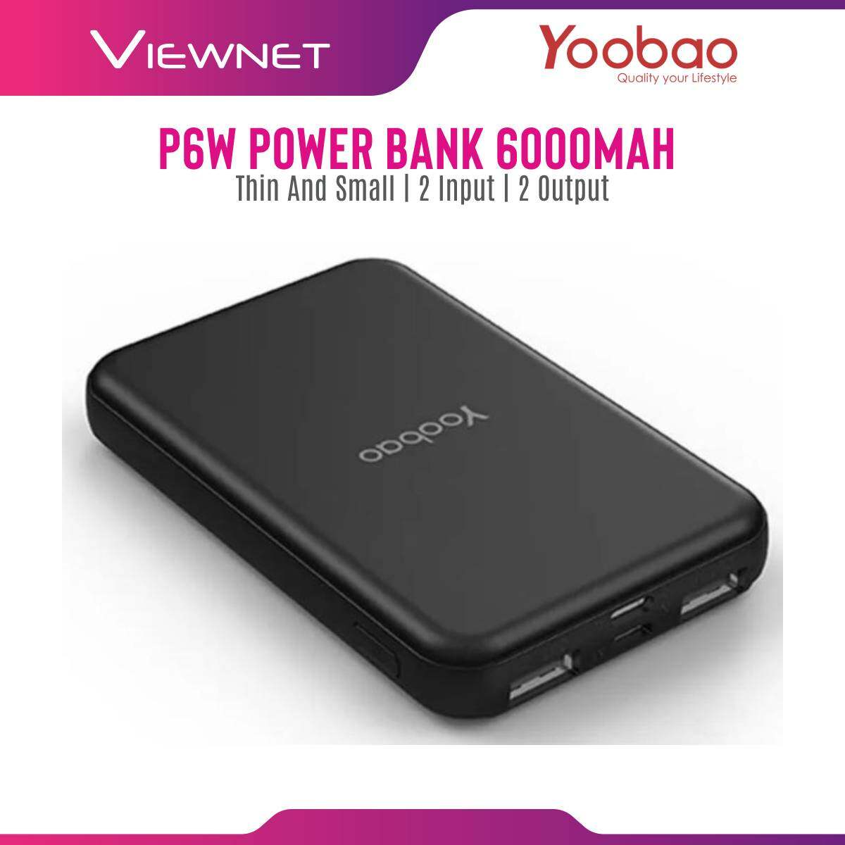 Yoobao P6W 6000mAh Credit Card Mini Size Power Bank Micro and Lightning Input and Dual Output (Blue)