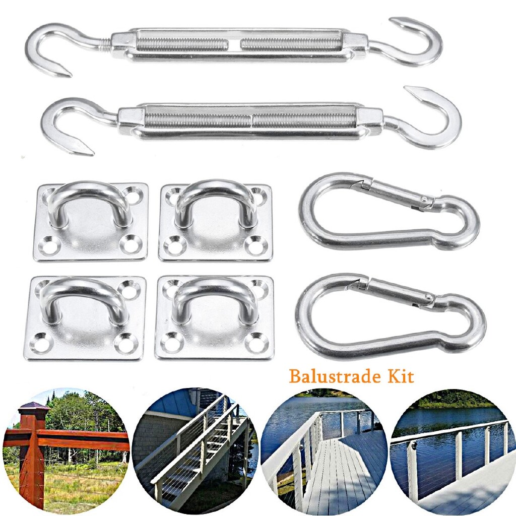 Automotive Tools & Equipment - 8mm Stainless Steel Turnbuckle &Pad Eyes Snap Spring Hook Shade Sail Canopy SET - Car Replacement Parts