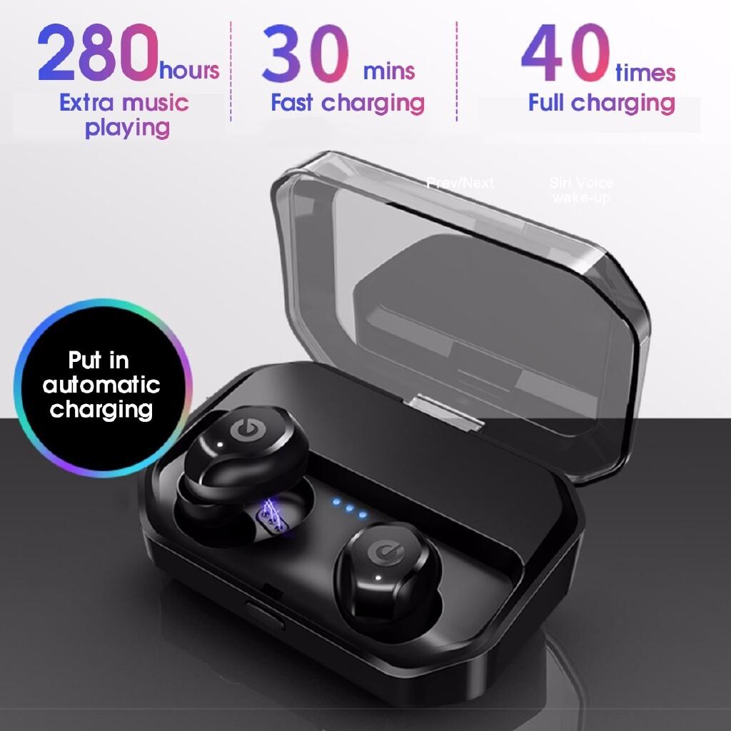 On-Ear Headphones - + 3500mAh MINI Charging Box BLUETOOTH5.0 Earphone WIRELESS Hi-Fi Headphones - WHITE / BLACK