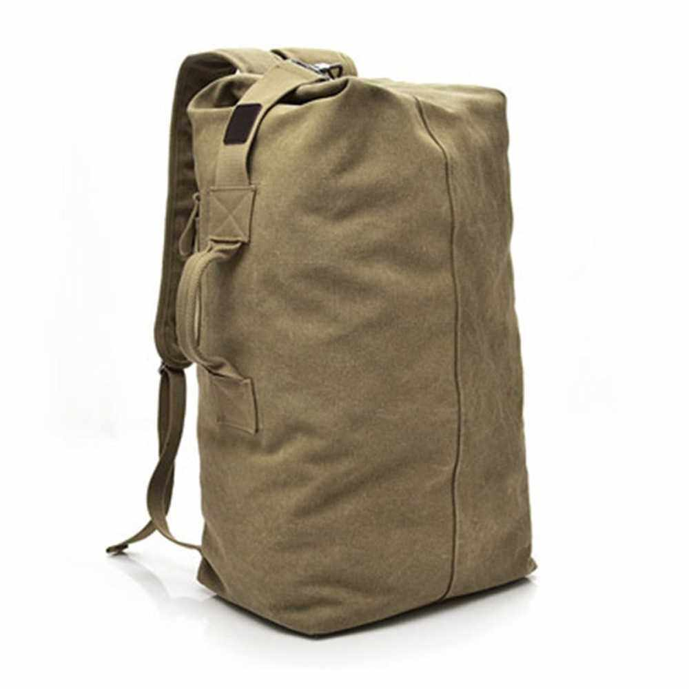 Multifuctional Outdoor Male Female Backpack Fashion Korean Students Schoolbag Bucket Bag Travel Recreation Large Capacity Canvas Knapsack (Khaki)