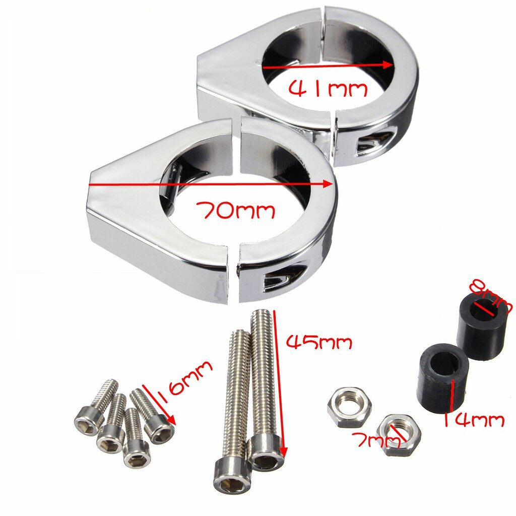 Moto Accessories - Motorcycle Turn Signal Indicator Relocation Clips For Harley - CHROME / BLACK