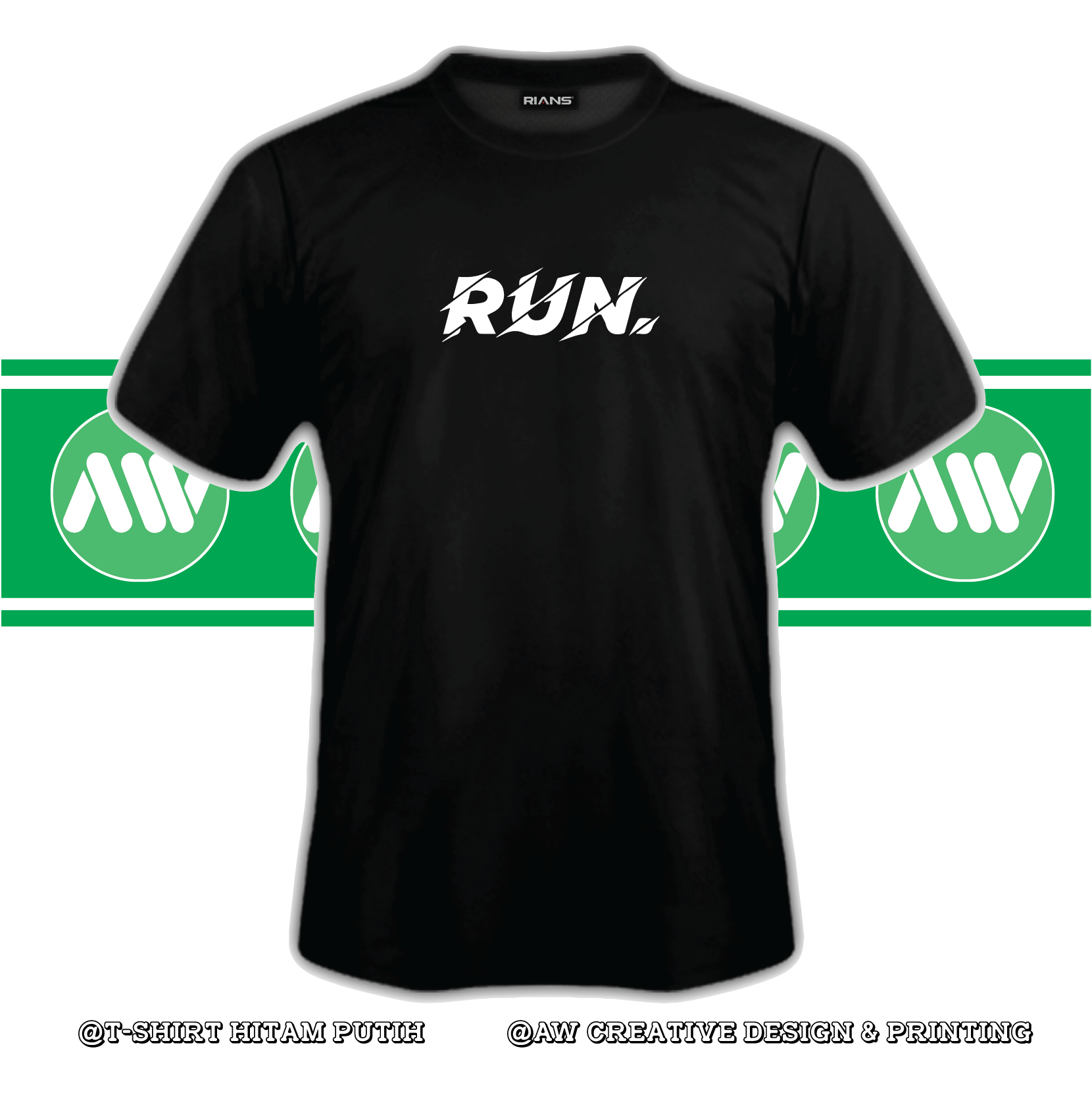 T-Shirt Run 100% Cotton Baju Tshirt Black White Hitam Putih Bossku