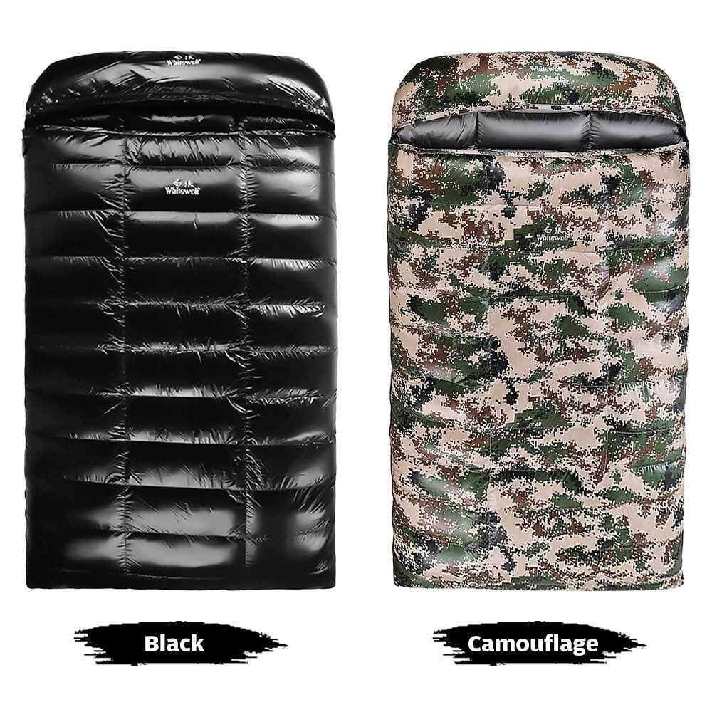 People's Choice 90% White Goose Down Lightweight Double Sleeping Bag 220x130cm with Compression Sack for Backpacking Camping Hiking Traveling (Camouflage)