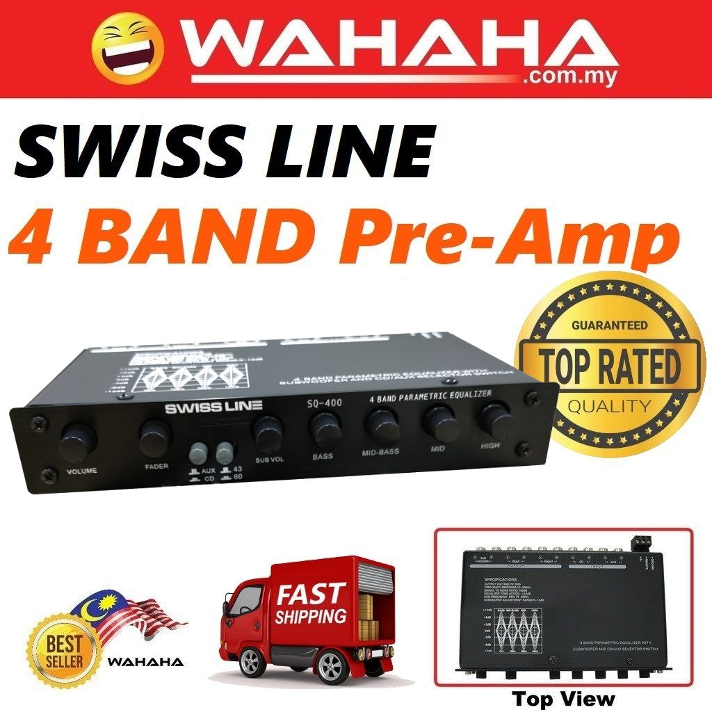 SWISS LINE SQ-400 4-Band Car Audio Pre-Amp High Performance Power PreAmp Car Preamp Audio System 4 Band Preamp
