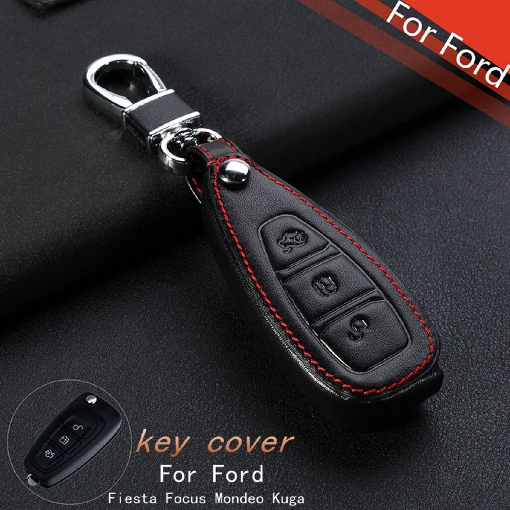 Automotive Tools & Equipment - 3 Buttons PU Leather Remote Key Case Cover For Ford Fiesta Focus Mondeo Kuga - Car Replacement Parts