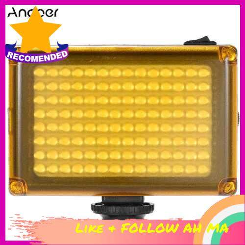 Best Selling Andoer AD-112 Mini Portable On-camera LED Video Fill-in Light Panel 5500K / 3200K CRI85+ With White & Orange Filters for Canon Nikon Sony DSLR Camera Camcorder (Black Red)