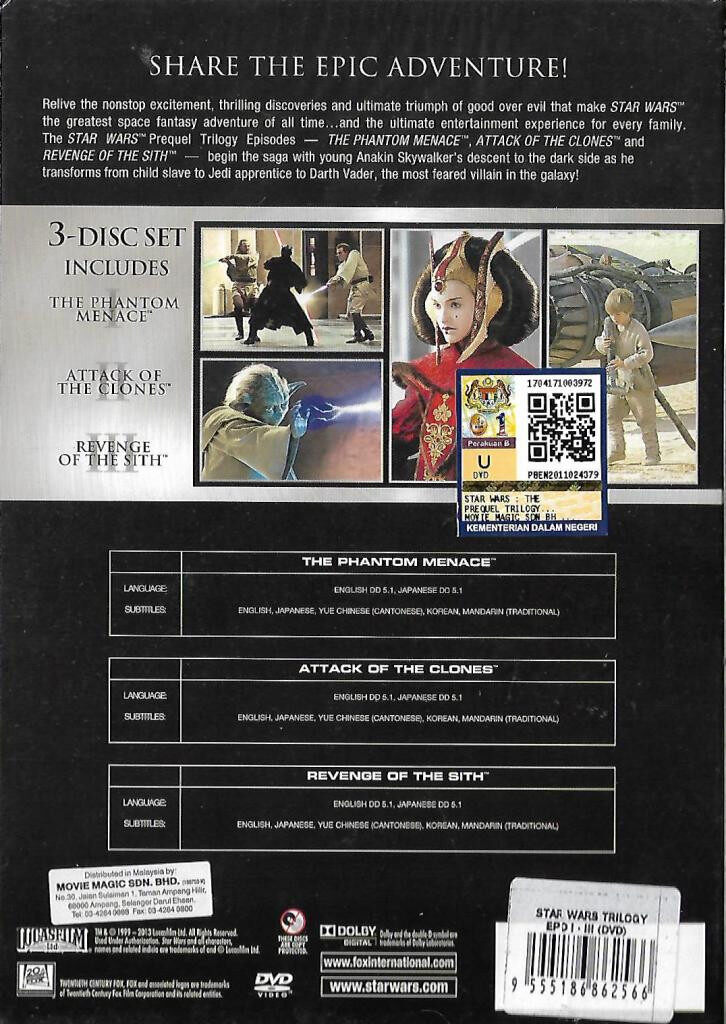 English Movie Star Wars I / II / III - The Phantom Menace / Attack On The Clones / Revenged of The Sith DVD
