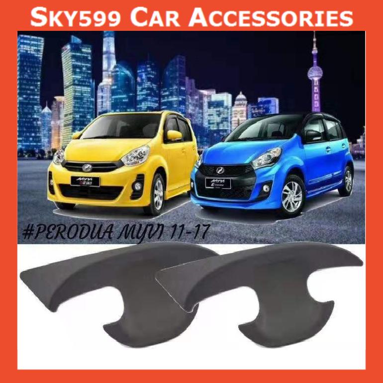 Perodua Myvi 2011-2017 Matte Black Door Handle Inner Bowl Inserts Cover 4pcs