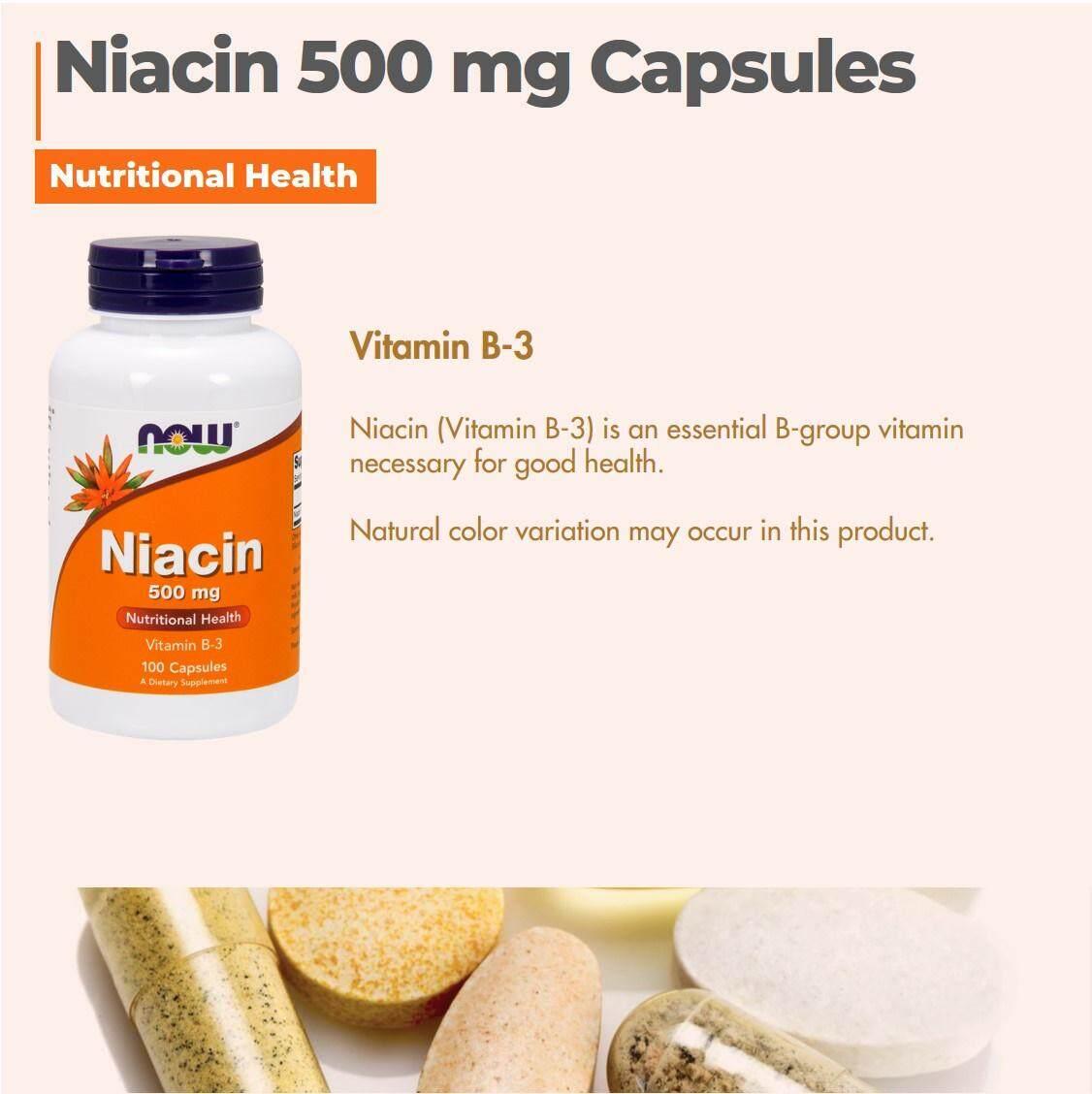 Now Foods, Niacin, 500 mg, Kulit kecantikan 100 Capsules