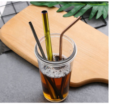Stainless Steel Cleaner Brush Bar Drinking Metal Reusable Straws Elbow Straw