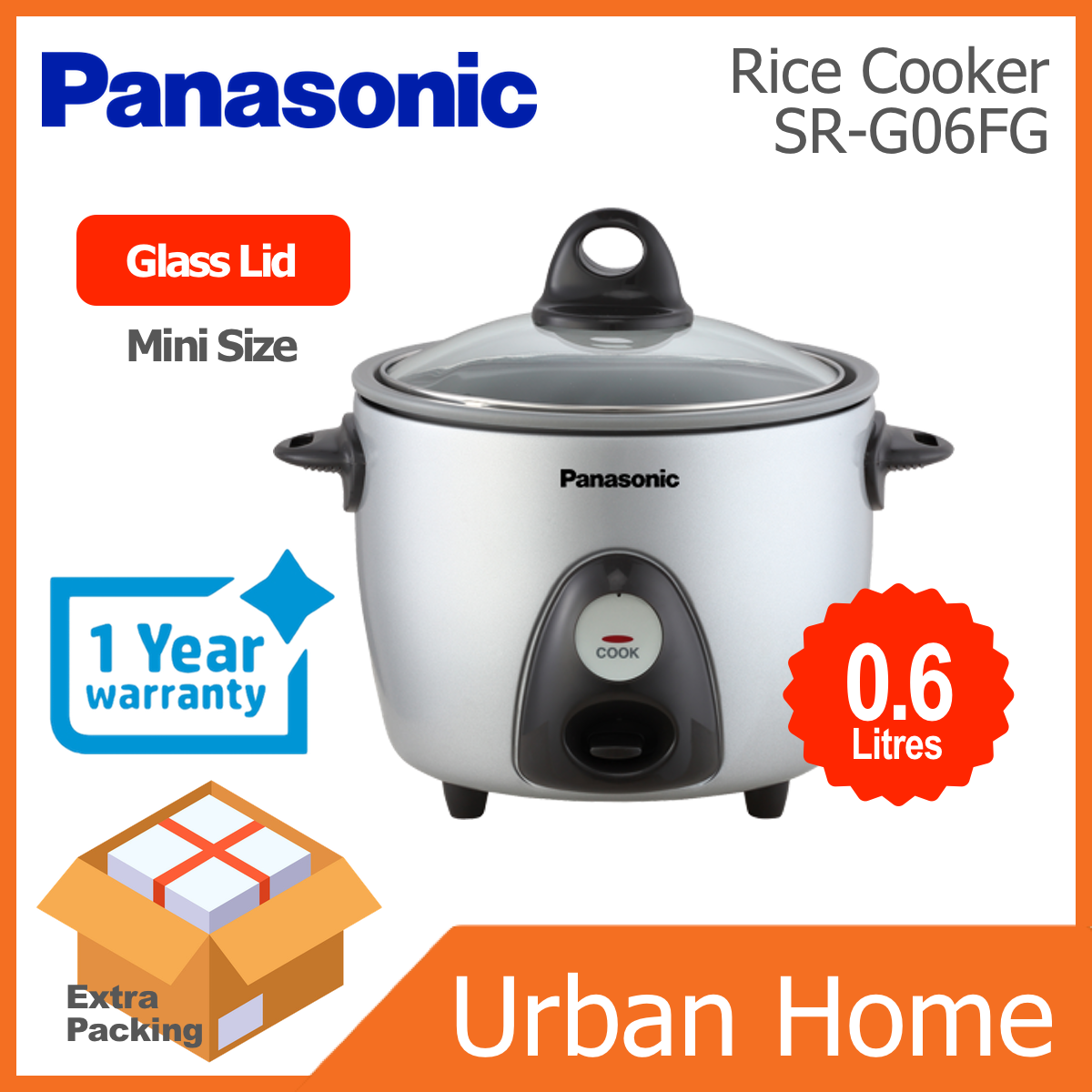 PANASONIC 0.6L Mini Non Stick Coated Pot Rice Cooker Periuk Nasi (SR-G06FG/SRG06FG/SR-G06FGLSK)