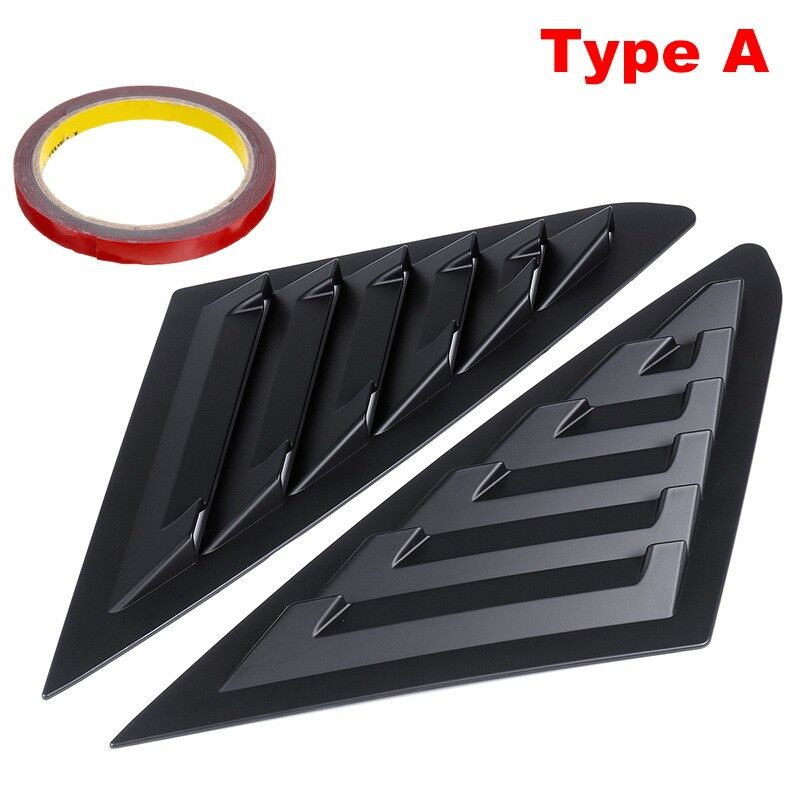 Car Stickers - 1 Pair Window Louvers For Ford Mustang 2011- Side Window Scoop Cover Tape - BLACK / CARBON / MATTE BLACK