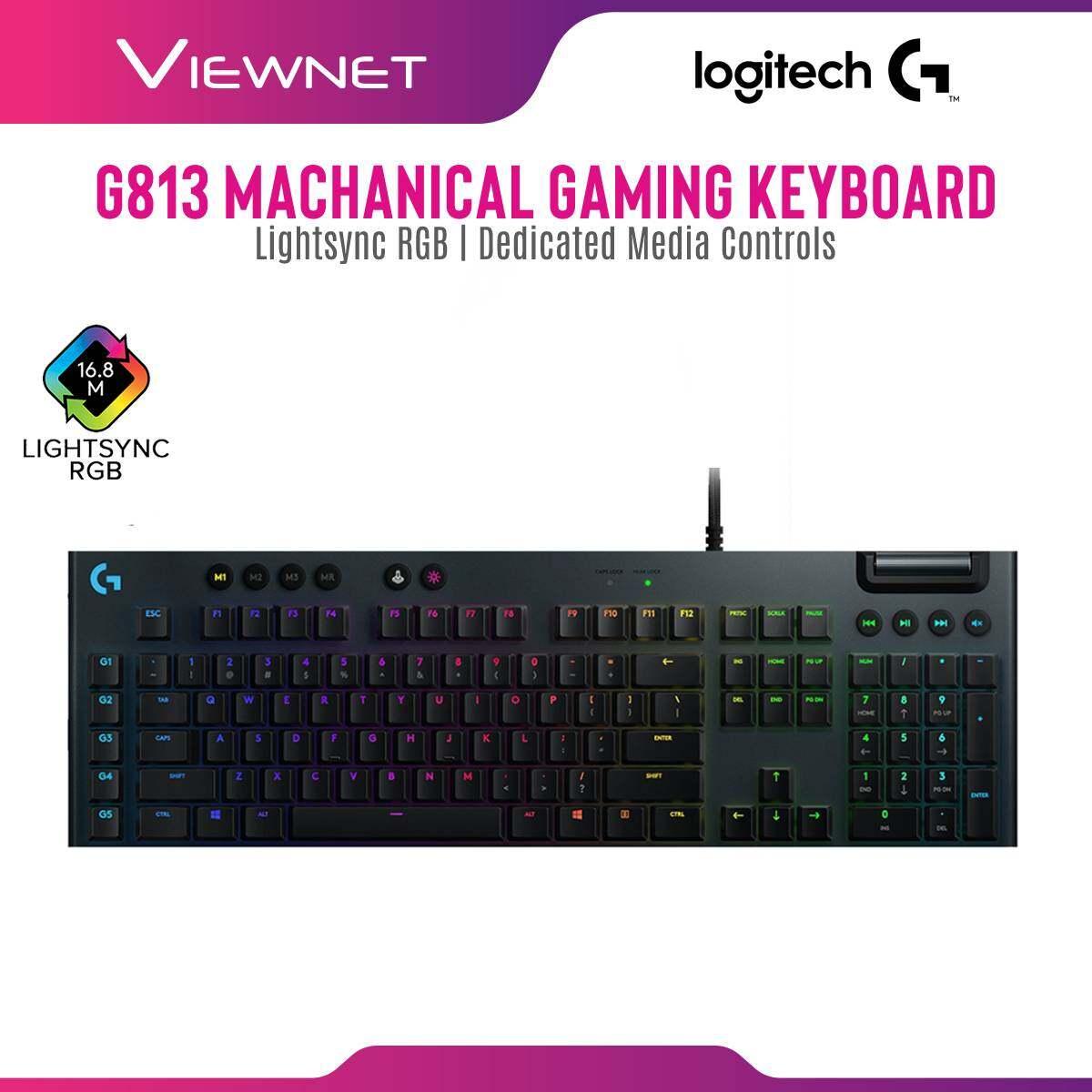 Logitech G813 Lightsync RGB Mechanical Gaming Keyboard (Tactile / Linear / Clicky) Ultra Thin, Logitech G HUB