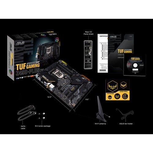 Asus Z490 Tuf Plus Gaming (WI-FI) Socket 1200, ATX gaming motherboard with M.2, 14 DrMOS power stages, Intel® WiFi 6, HDMI, DisplayPort, SATA 6 Gbps, USB 3.2 Gen 2 ports, Thunderbolt™ 3 support, and Aura Sync RGB lighting