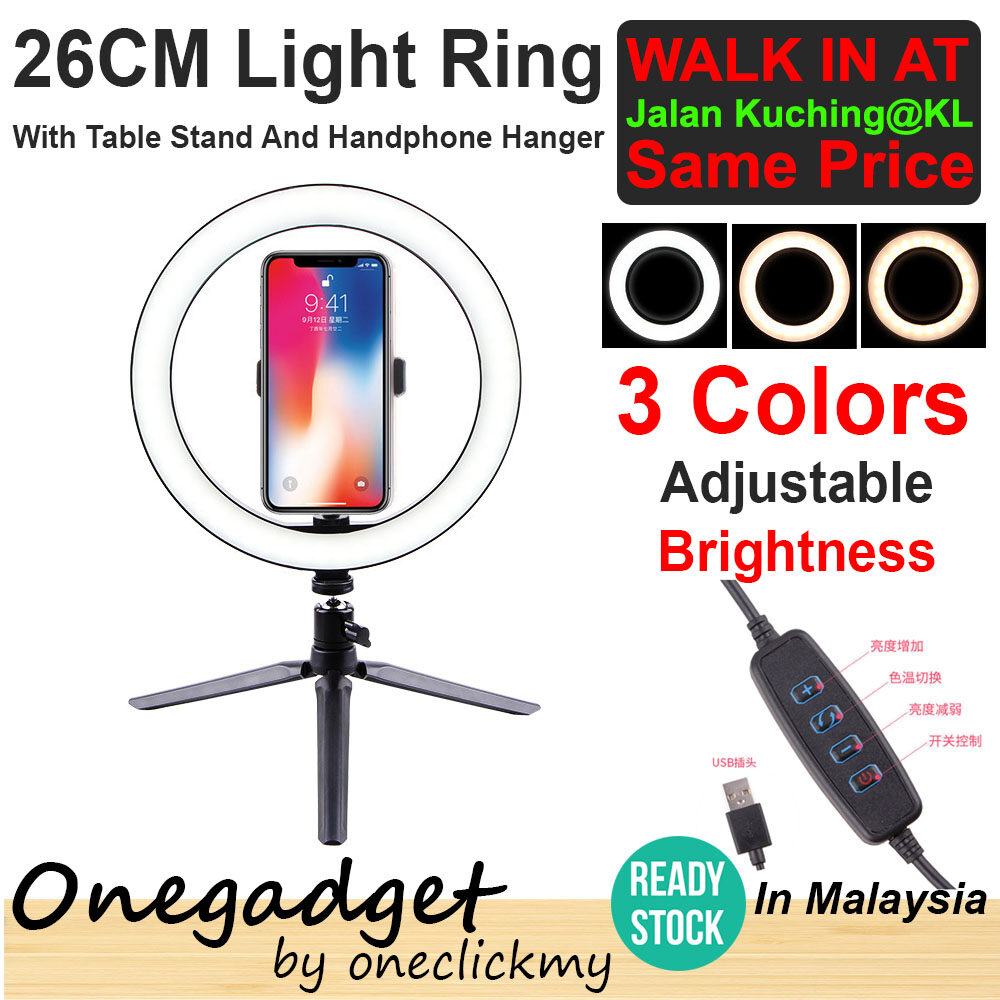 [?READY STOCK IN MALAYSIA]16/26cm Photography Selfie Lighting Dimmable LED Ring Light Lamp With 50cm/160cm Tripod Stand50cm Tripod Stand With 16cm Ring