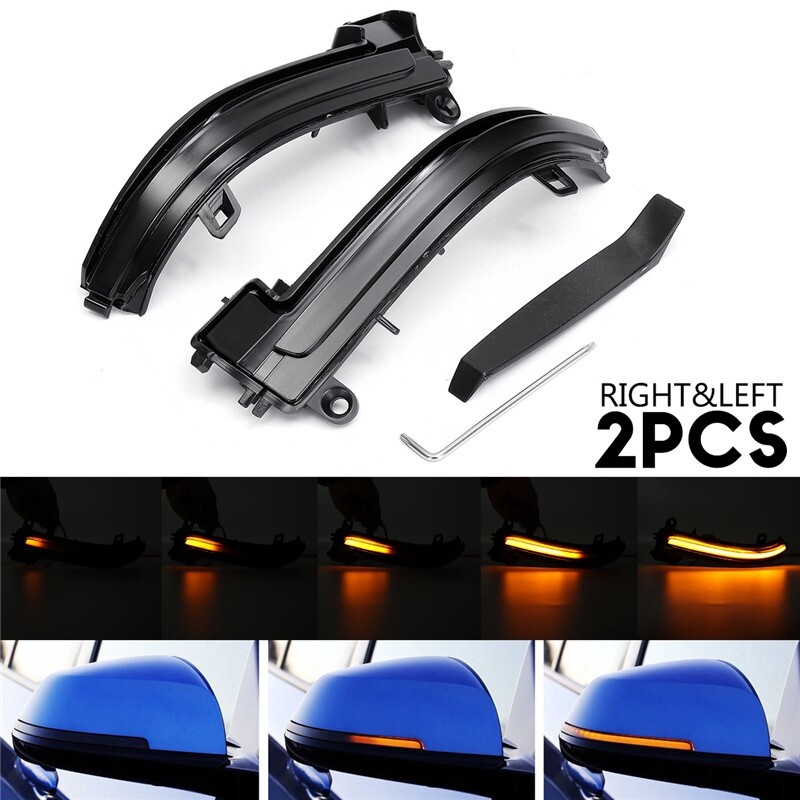 Car Lights - Smoked Side Mirror Sequential Flashing Turn Light For BMW 1 2 3 4 Series i3 - Replacement Parts
