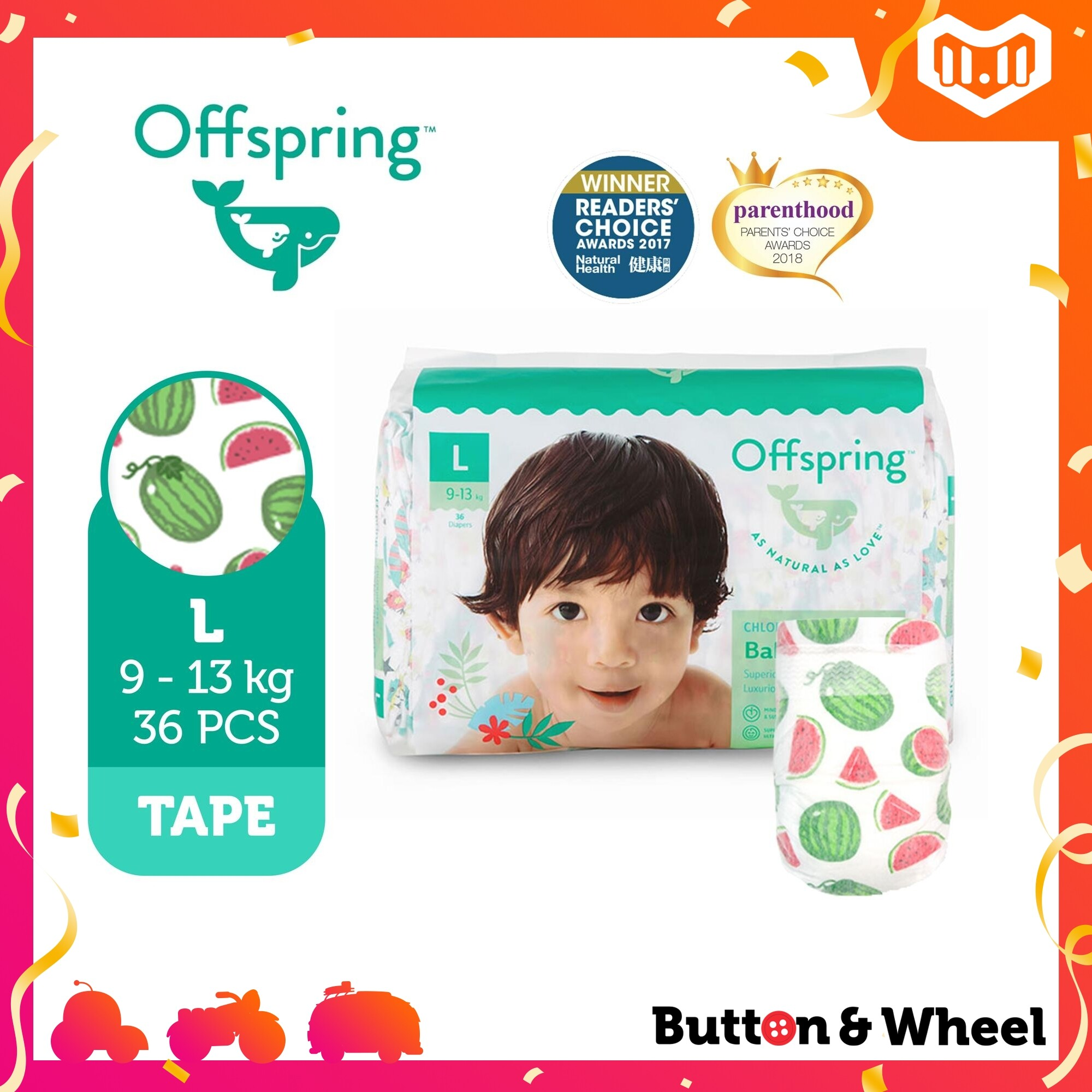 Offspring Fashion Diapers L Size (36 pcs):OI-FT-L-Animal - Kitties