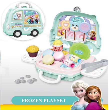 Kids Mini Pretend Play Plastic Suitcase Toy Portable Carry Case with Wheels Toy Set (Variation)